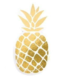 Gold Foil Pineapple Shaped Paper Plates