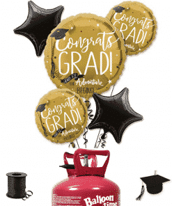 Graduation 5 x Balloon Decorating Kit Including Helium, Ribbon & Weight