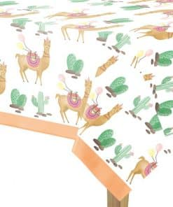 Llama Party Plastic Tablecover - 1.2m x 1.8m
