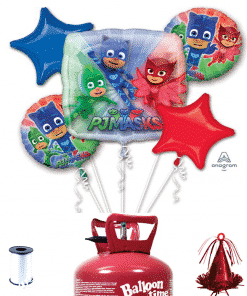 PJ Masks 5 x Balloon Decorating Kit Including Helium, Ribbon & Weight