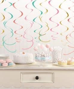 Pastel Hanging Swirl Decorations