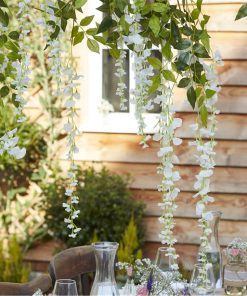 Rustic Country White Artificial Wisteria