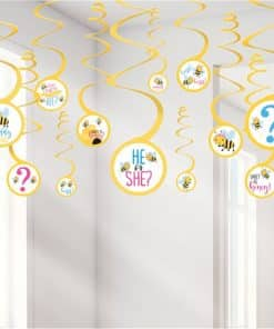 What Will It Bee? Baby Shower Hanging Swirl Decorations