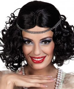 Black 1920's Wig with Headband