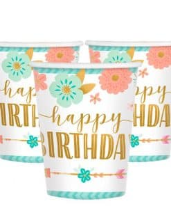 Boho Birthday Girl Party Paper Cups