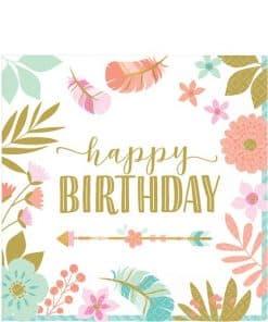 Boho Birthday Girl Party 'Happy Birthday' Napkin