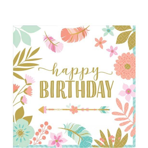 Boho Birthday Girl Party 'Happy Birthday' Napkin - 33cm (Pk 16)