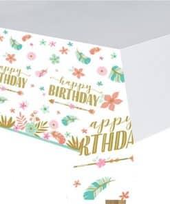 Boho Birthday Girl Paper Tablecover