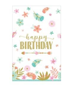Boho Birthday Girl Party Paper Tablecover