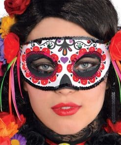 Day of the Dead Masquerade Mask with Ribbons
