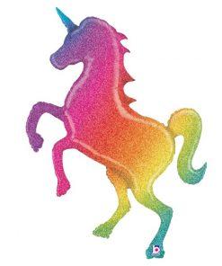 Glitter Rainbow Unicorn Holographic Supershape Balloon - 54