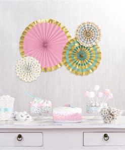 Pastel & Metallic Paper Fan Decorations