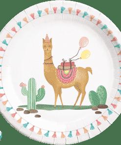 Llama Party Paper Plates