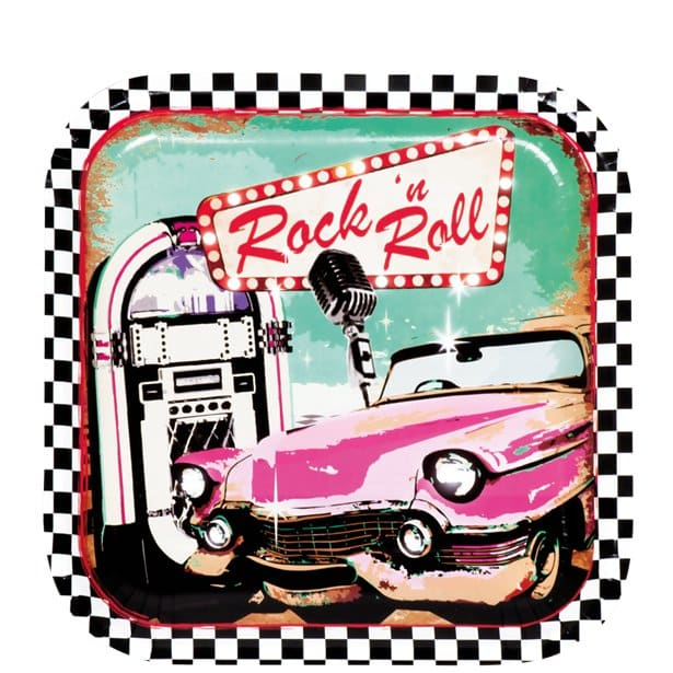 50s Classic Rock N Roll Party Paper Plates Fun Party Supplies