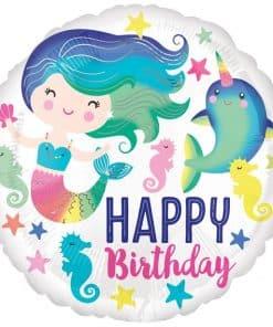 Mermaid & Narwhal 'Happy Birthday' Balloon