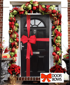 Red Satin Padded Door Bow Decoration