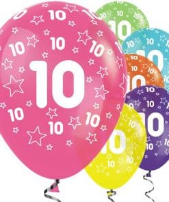 10th Birthday Tropical Mix Stars Balloons
