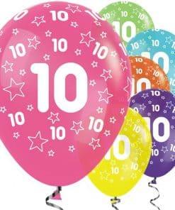 10th Birthday Tropical Mix Stars Balloons