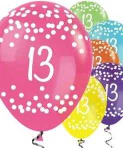 13th Birthday Tropical Mix Dots Balloons