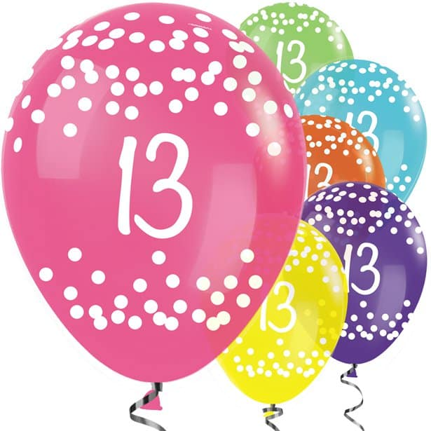 13th Birthday Tropical Mix Dots Balloons