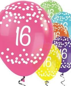 16th Birthday Tropical Mix Dots Balloons
