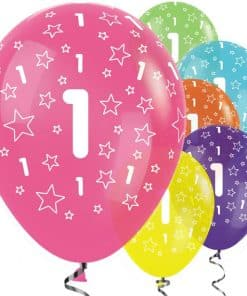 1st Birthday Tropical Mix Stars Balloons
