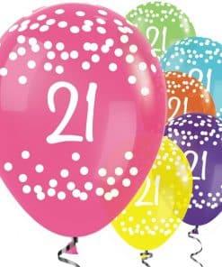 21st Birthday Tropical Mix Dots Balloons