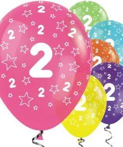 2nd Birthday Tropical Mix Stars Balloons