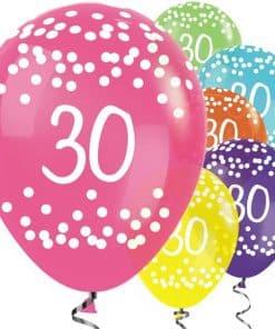 30th Birthday Tropical Mix Dots Latex Balloons