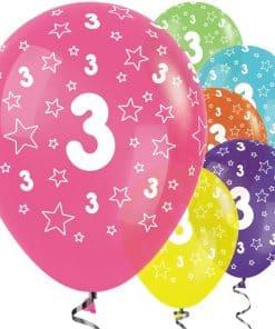 3rd Birthday Tropical Mix Stars Balloons
