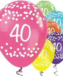 40th Birthday Tropical Mix Dots Balloons