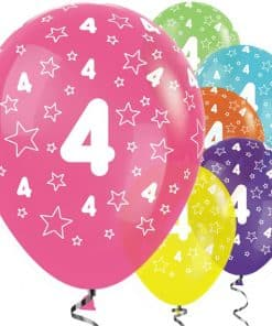 4th Birthday Tropical Mix Stars Balloons