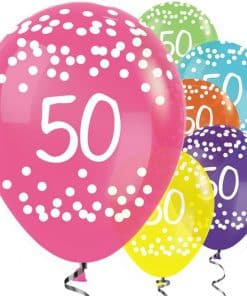50th Birthday Tropical Mix Balloons