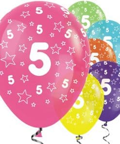 5th Birthday Tropical Mix Stars Balloons