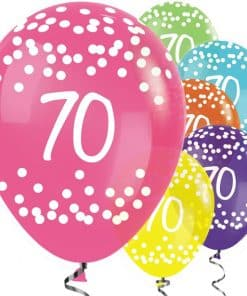 70th Birthday Tropical Mix Dots Balloons