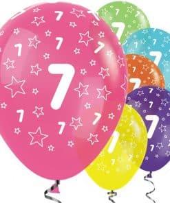 7th Birthday Tropical Mix Stars Balloons