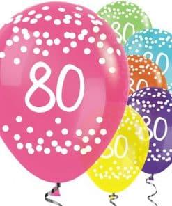 80th Birthday Tropical Mix Dots Balloons