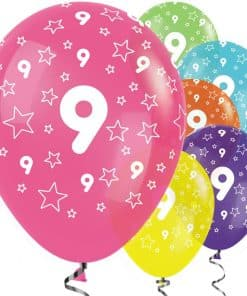 9th Birthday Tropical Mix Stars Balloons