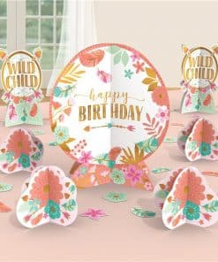 Boho Birthday Girl Table Decoration Centerpiece Kit