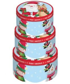 Cute Christmas Character Round Gift Box