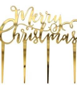 "Gold Metallic Star ""Merry Christmas"" Cake Topper"