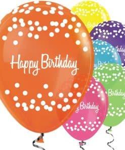 Happy Birthday Tropical Mix Dots Balloons