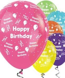 Happy Birthday Tropical Mix Streamer Balloons
