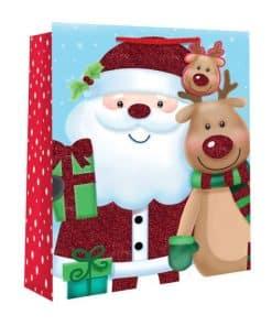 Medium Kids Santa and Rudolph Christmas Gift Bag