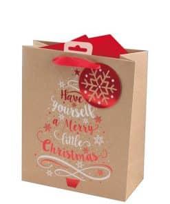 Kraft Tree Medium Christmas Gift Bag