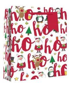 Large Ho Ho Ho Glitter Christmas Gift Bag