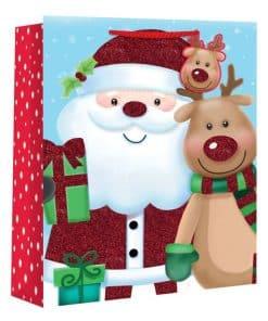 Large Kids Santa and Rudolph Christmas Gift Bag