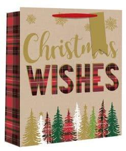 Large Tartan Christmas Tree Christmas Gift Bag