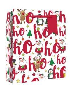 Medium Ho Ho Ho Glitter Christmas Gift Bag