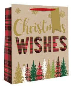 Medium Tartan Christmas Tree Christmas Gift Bag